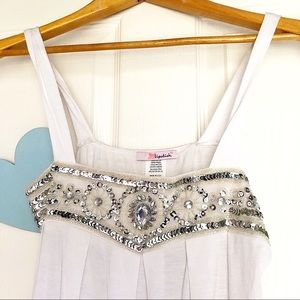 Lipstick M White Silver Sequins Babydoll Tank Top